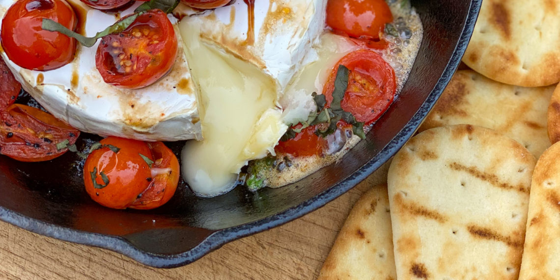 baked brie with tomatoes and Stonefire Naan Dippers